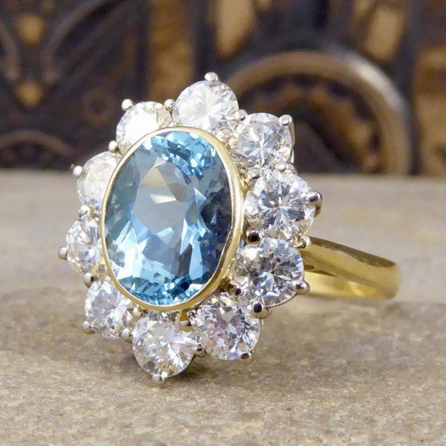 aquamarine cluster engagement ring