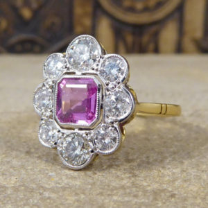 pink sapphire cluster engagement ring