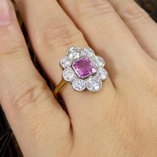 vintage pink sapphire cluster ring