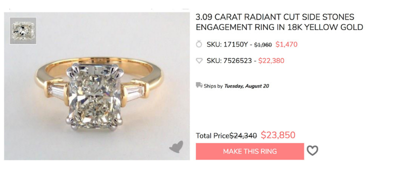 3 carat radiant diamond engagement ring