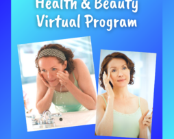 Health and Beauty Virtual Program. Mo washing her face in one photo on the left and applying moisturizer in the photo on the right.