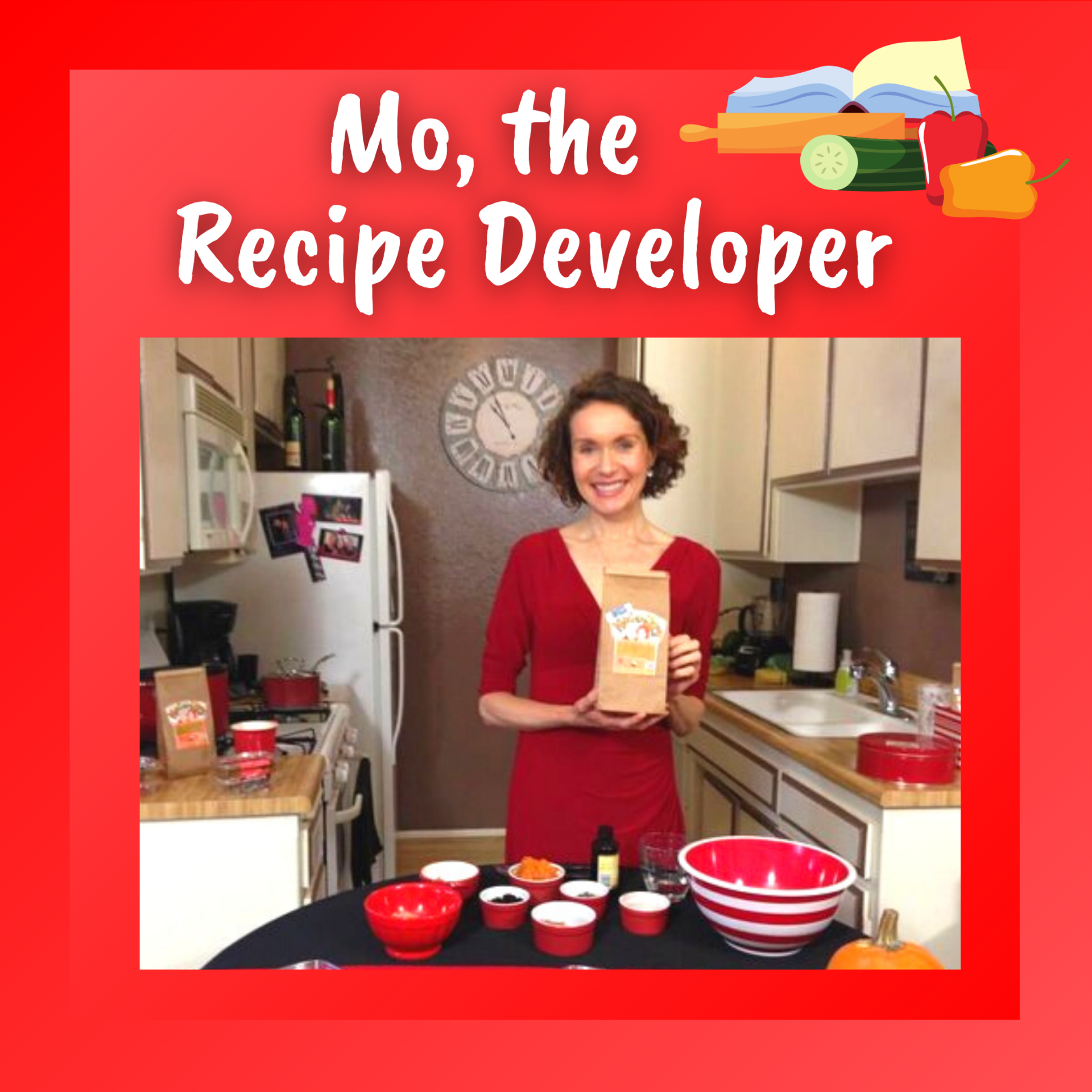 Mo, the Recipe Developer. Mo in the kitchen holding a bag of her Morselicious baking and cooking mix