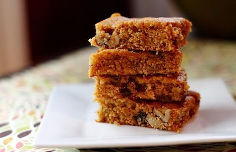A stack of 4 pumpkin bars made from Mac-n-Mo's Morselicious Keto and Paleo-friendly Mix for Baking and Cooking.