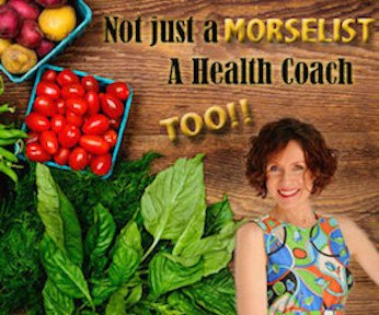 Graphic reads: Not just a Morselist, a health coach, too! Certified Health Coach, Mo The Morselist poses in a multicolored dress atop a background of a rainbow of vegetables.