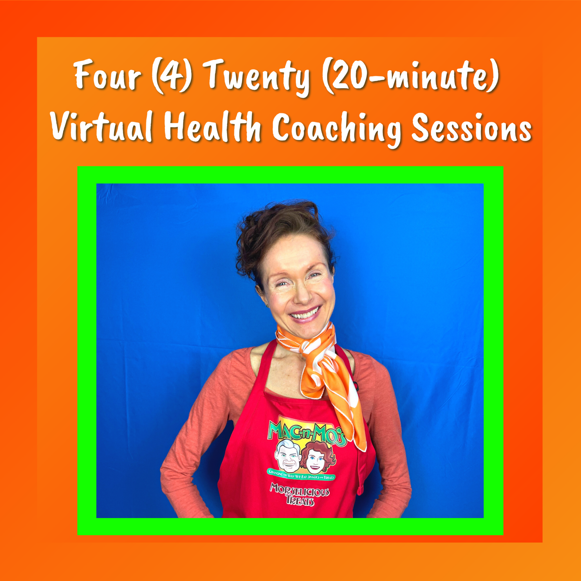 Flyer for Four Twenty Minute Virtual Health Coaching Sessions with Mo, the Morselist. Photo of Mo smiling against blue backdrop.