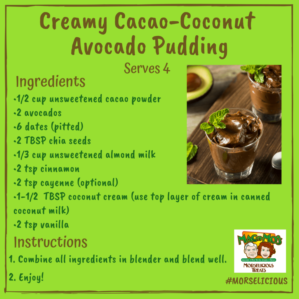 Recipe card for Mo's Creamy Cacao-Coconut Avocado Pudding