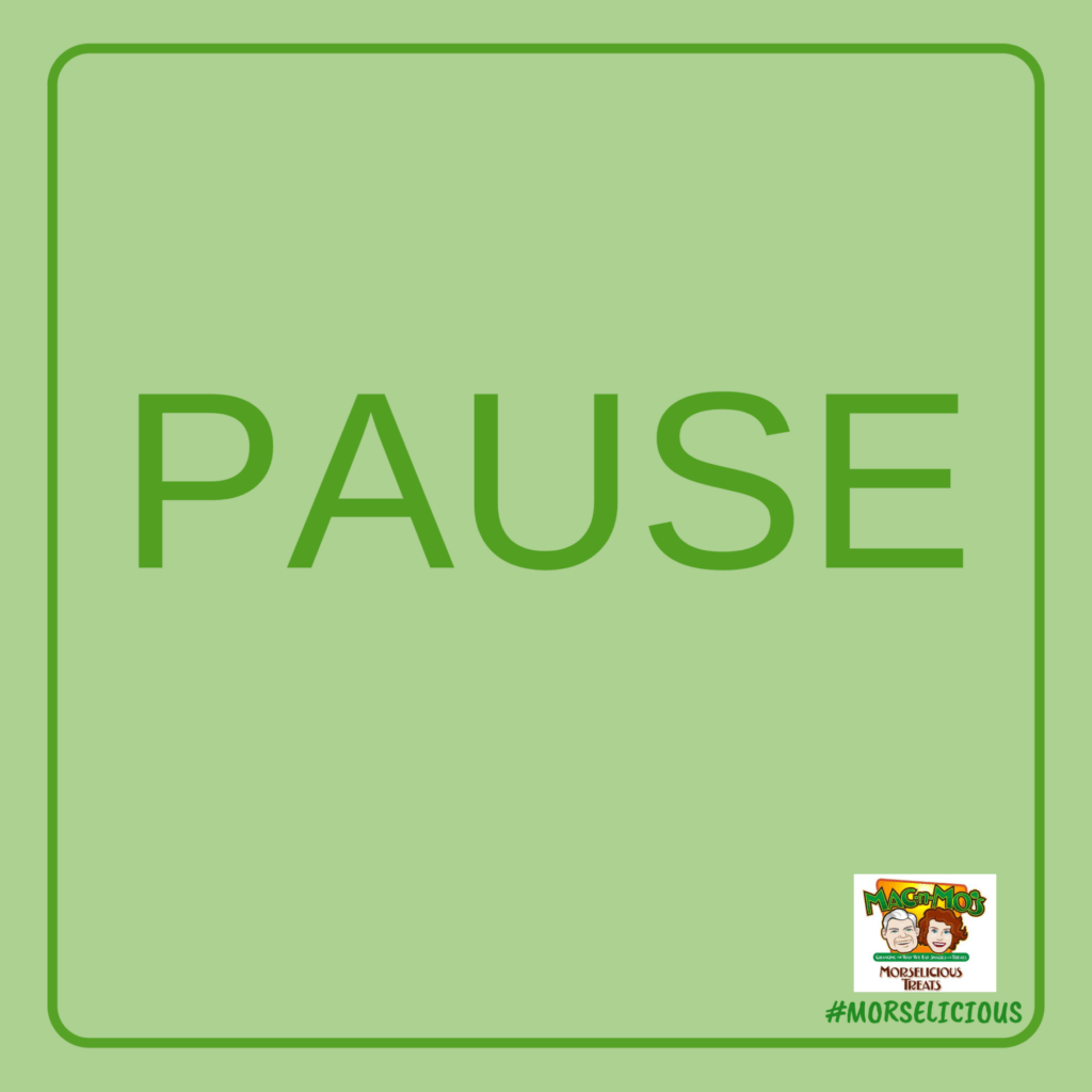 "The word ""Pause"" in all caps on a sage green background with a darker green border."