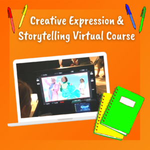 Creative Expression & Storytelling Virtual Course flyer with image of a Mo acting on a laptop screen. Beside the laptop are a green and yellow notebook.
