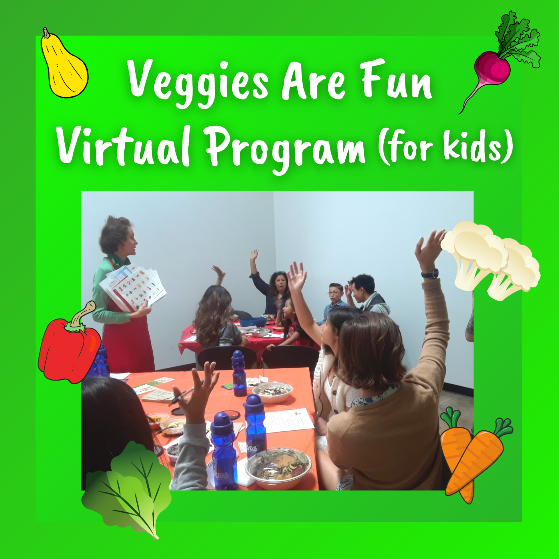 Veggies Are Fun Virtual Program (for kids). Photo of Mo, the Morselist teaching a group of kids and adults.