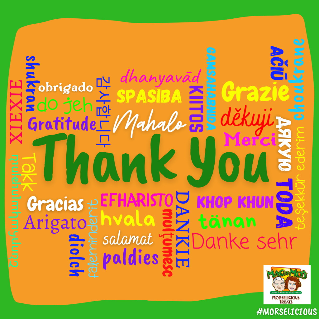 A colorful collage of the words 'Thank you' in multiple languages.