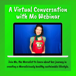 A Virtual Conversation with Mo webinar. Photo of Mo the Morselist superimposed on a laptop screen.