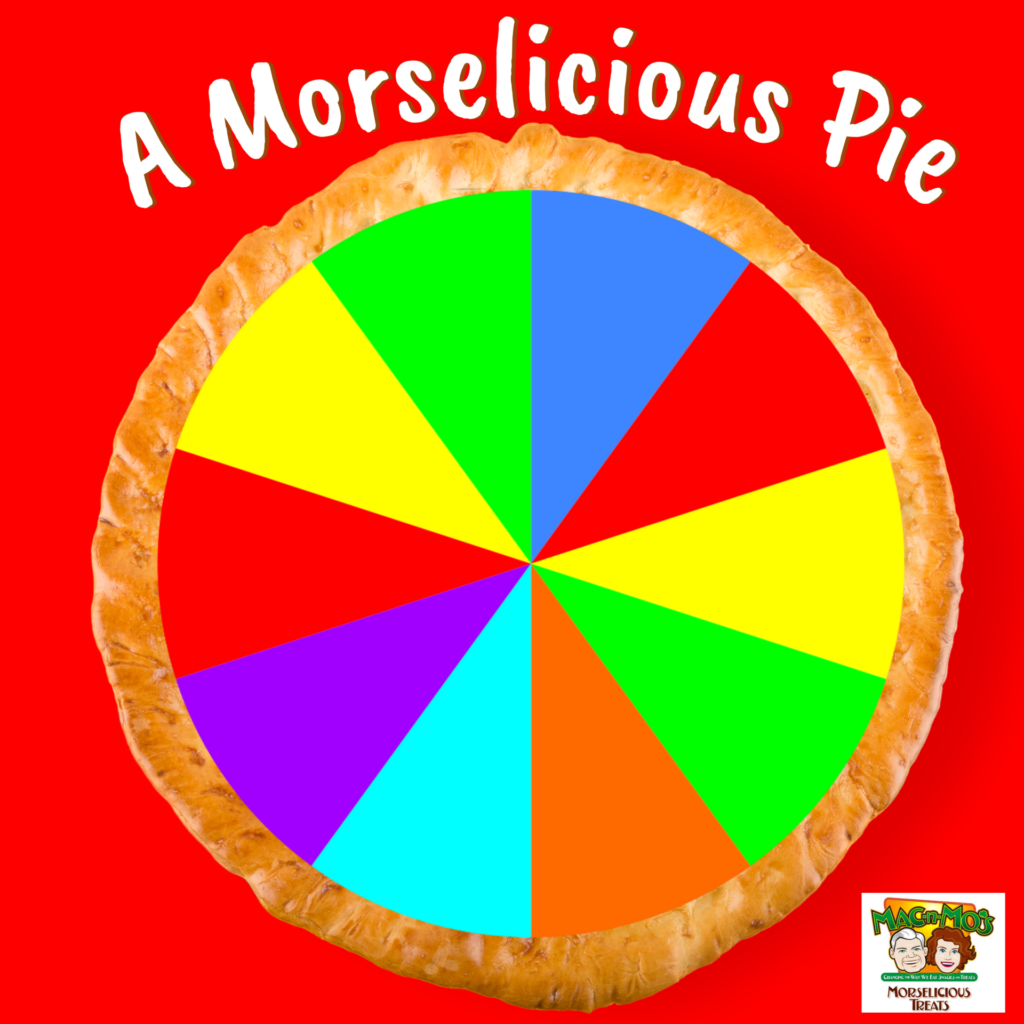 A Morselicious Pie. Photo of real pie crust with bright rainbow colored slices that represent parts of a healthy lifestyle.