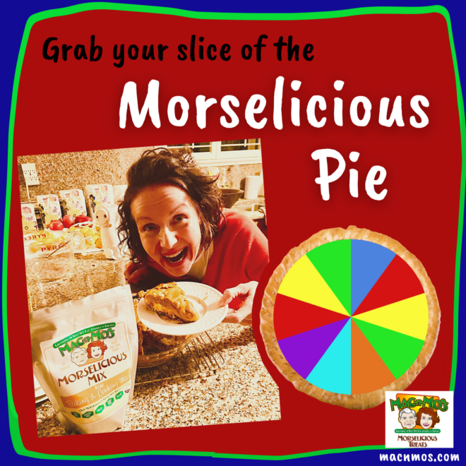 Grab your slice of the Morselicious Pie. Photo of Mo holding a slice of pie next to her Morselicious baking and cooking mix.