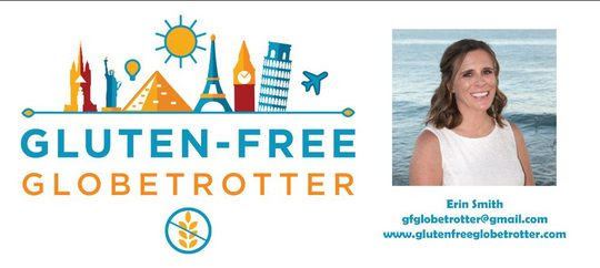 Logo for Gluten-Free Globetrotter and photo of Erin.