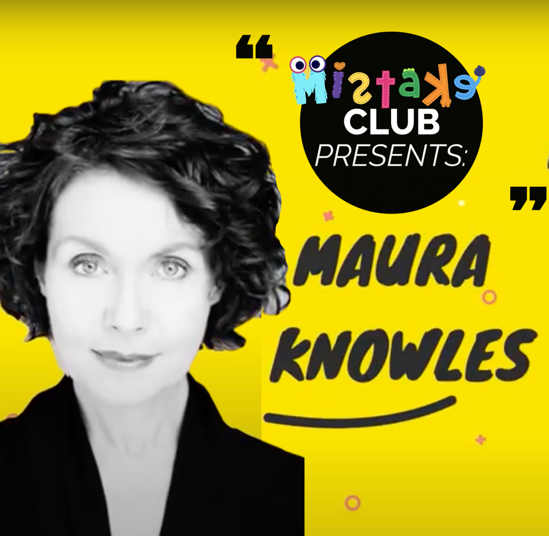 """Black and white photo of Mo on yellow background with logo for """"Mistakes Club."""""""