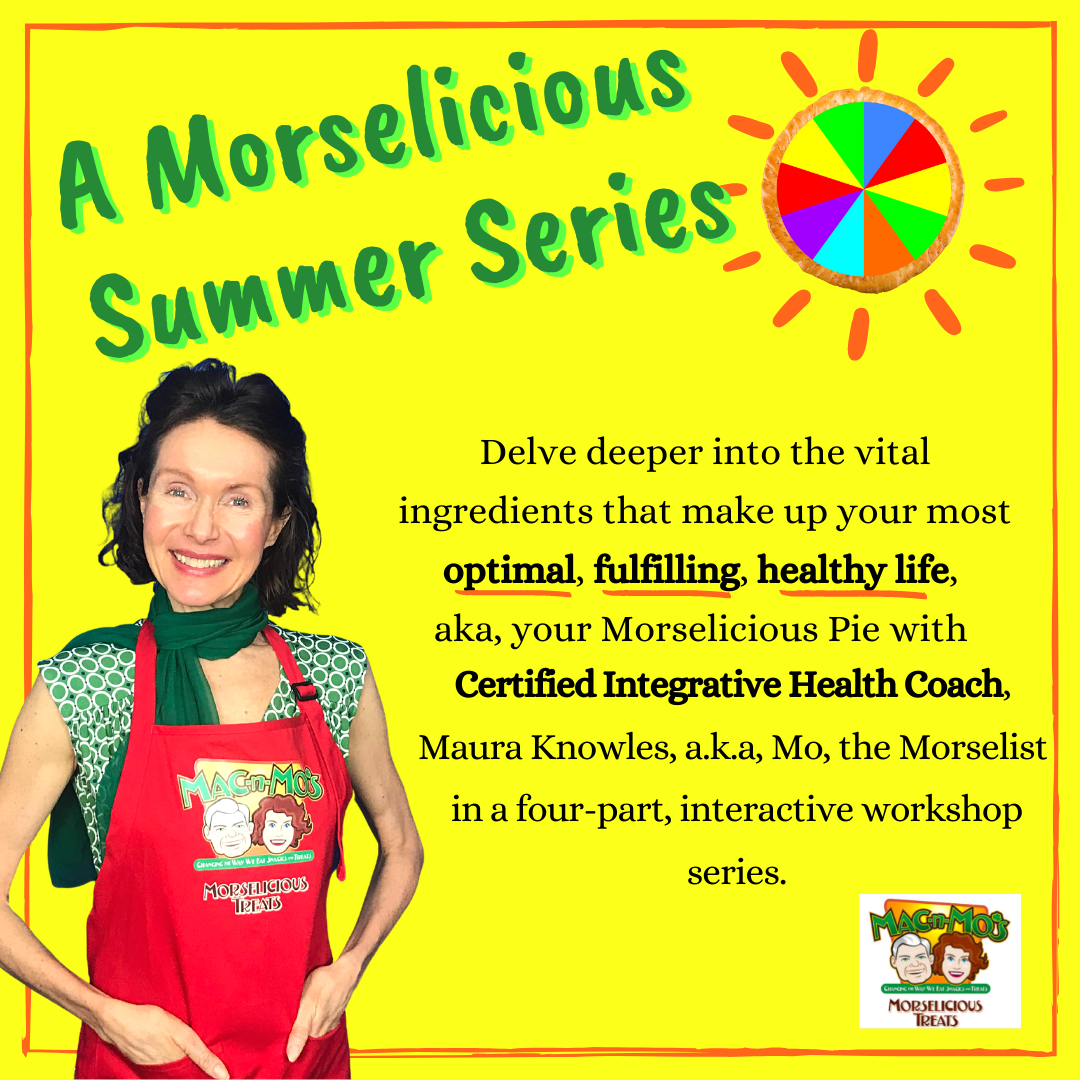 Photo of Mo in a red apron on a flyer for her Morselicious Summer Series Workshop.