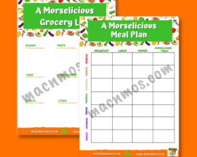 Watermarked images of A Morselicious Grocery List and A Morselicious Meal Plan downloads.