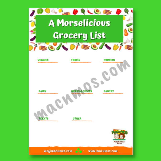 Watermarked image of A Morselicious Grocery Shopping List download.