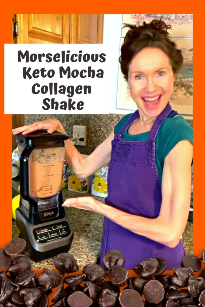 Mo posing next to her blender with text: Morselicious Keto Mocha Collagen Shake.