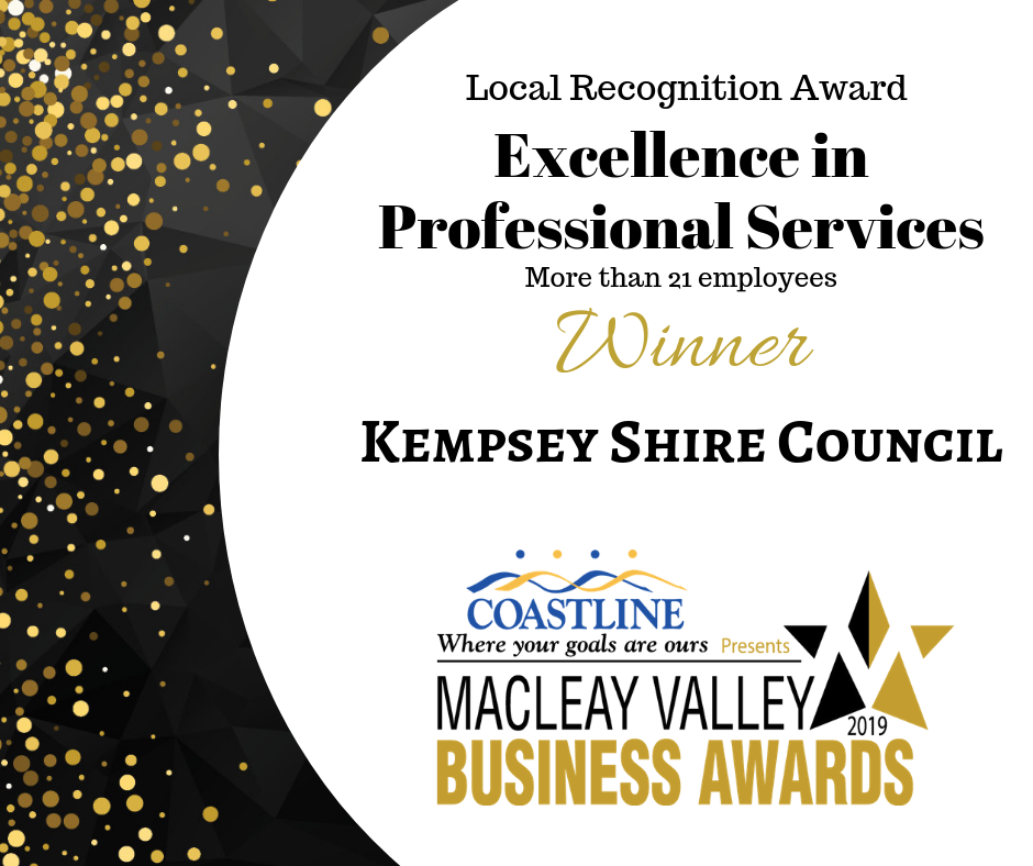 Kempsey Shire Council award for Excellence in Professional Services at the Macleay Business Awards 2019