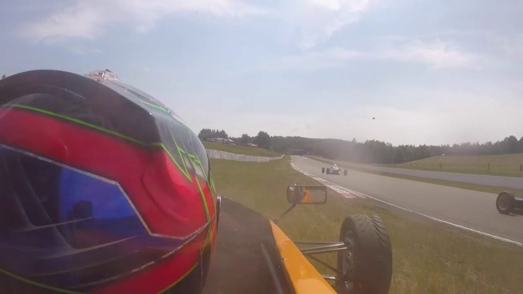 Logan drives four wheels off the track - grass racing