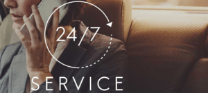 woman on the phone with 24/7 service graphically added as a layer