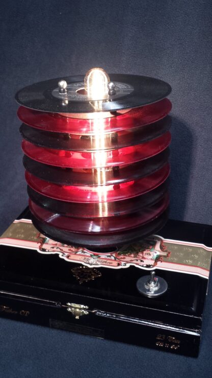 Red & Black 45 records top this black My Father cigar box. Perfect Vinyl Collector Gift