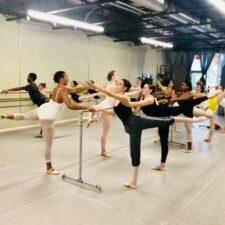 dancers at barre in Saltmarsh Dance studio
