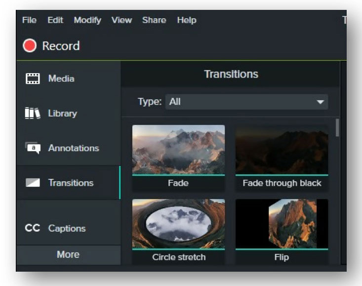 camtasia review - transitions