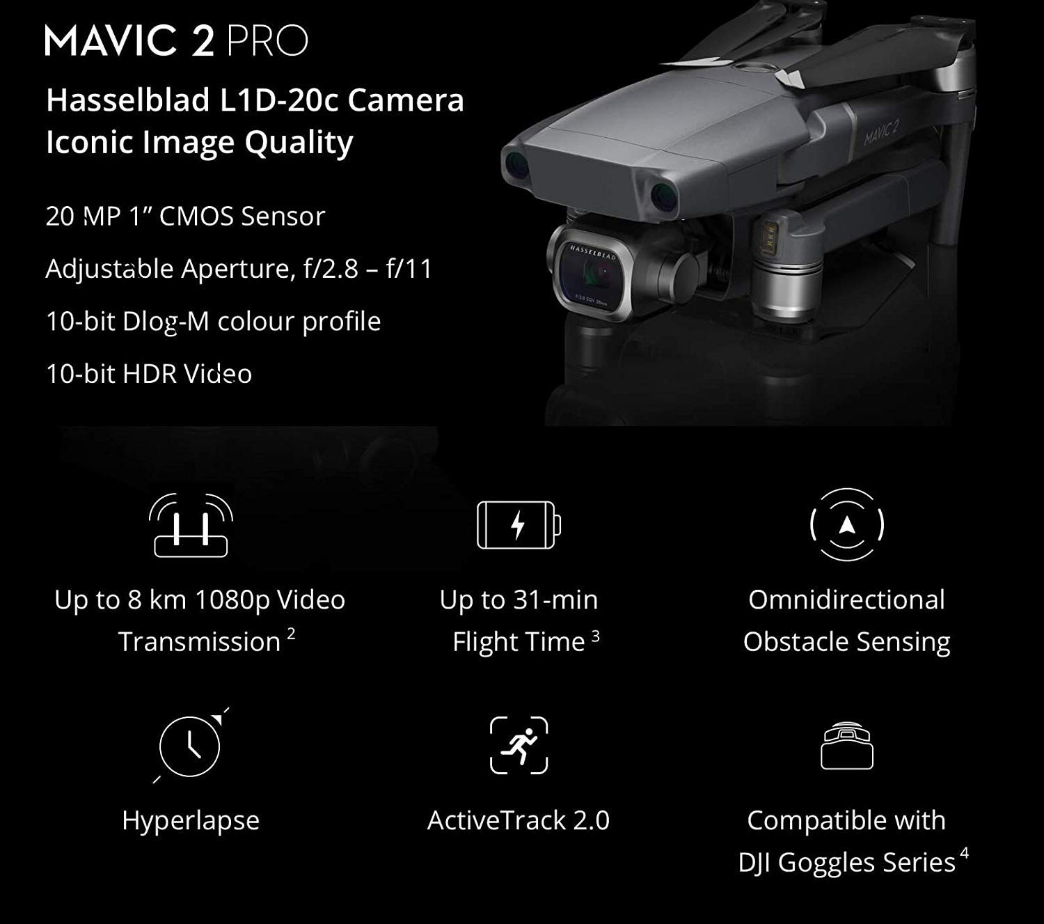 DJI-Mavic 2 Pro has 31 longest flight time