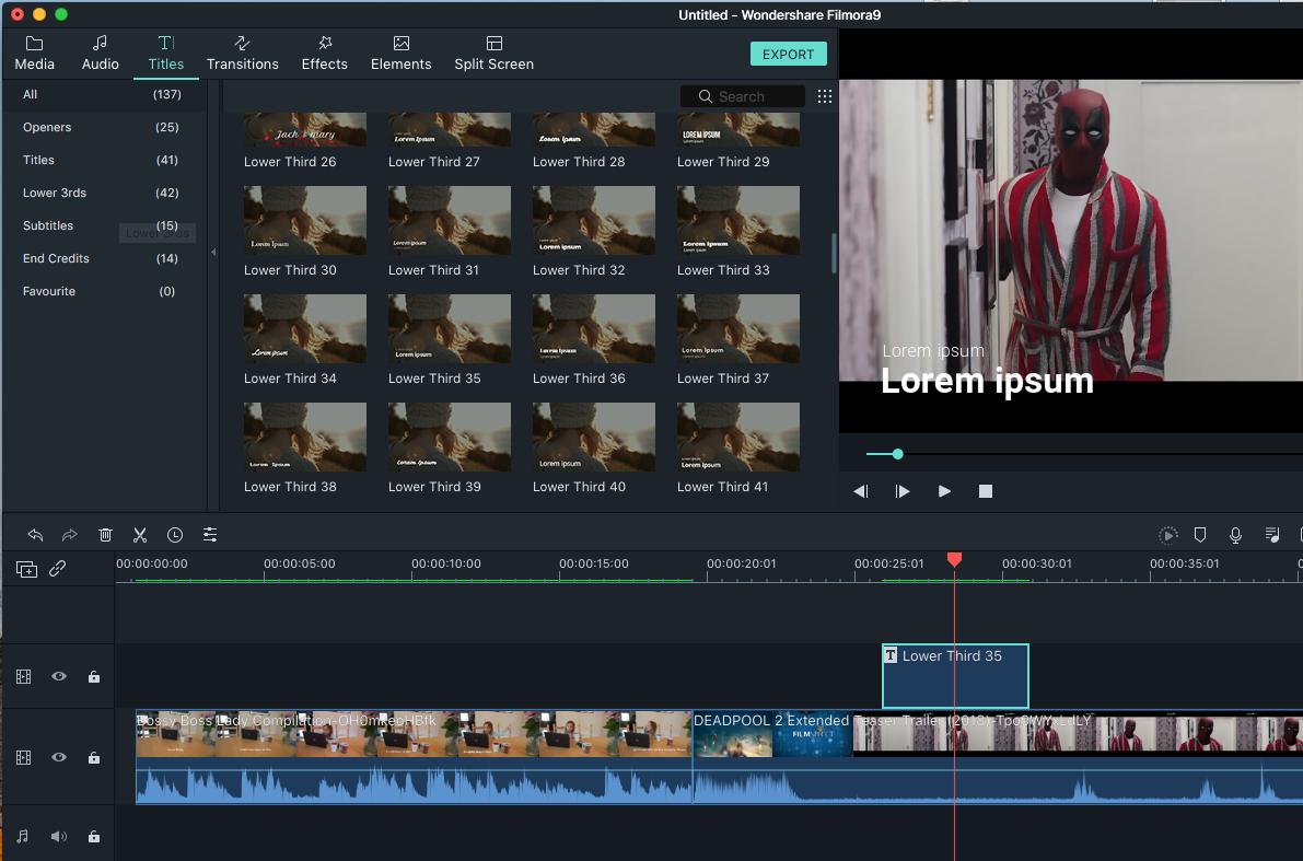 filmora video editor's titles