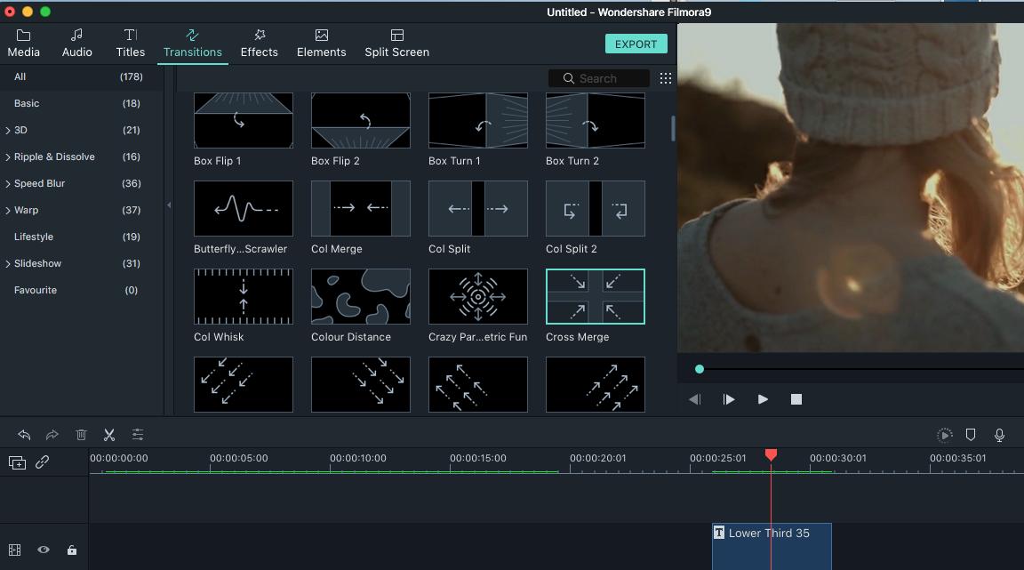 filmora video editor's transition