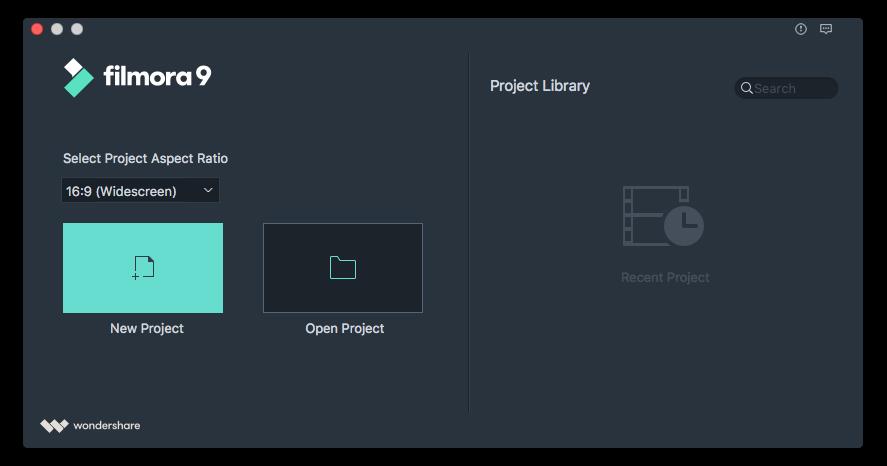 filmora video editor start interface