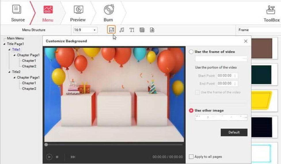 create DVD with Wondershare DVD creator step 2