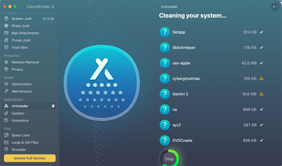CleanMyMac X cleaning files
