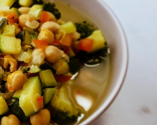Garbanzo Brocoli Zucchini Bowl