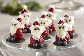 Strawberry Santa with blueberries