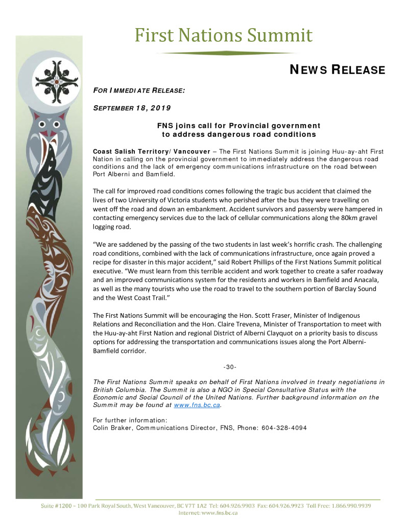 thumbnail of FNS Release re PAtoBamfiled road conditions Sept 18 2019