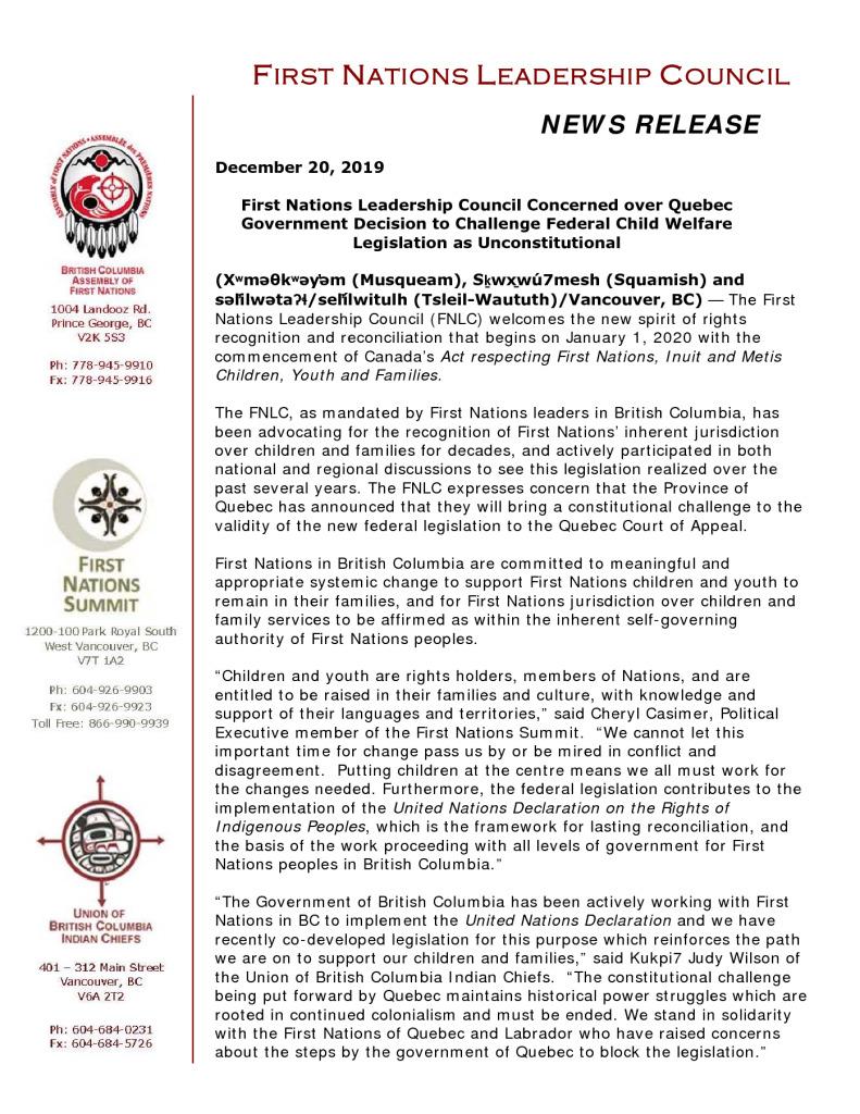 thumbnail of FNLC NR re Quebec Govt Challenge Fed Child Welfare Legislation as Unconstitutional Dec 20 19