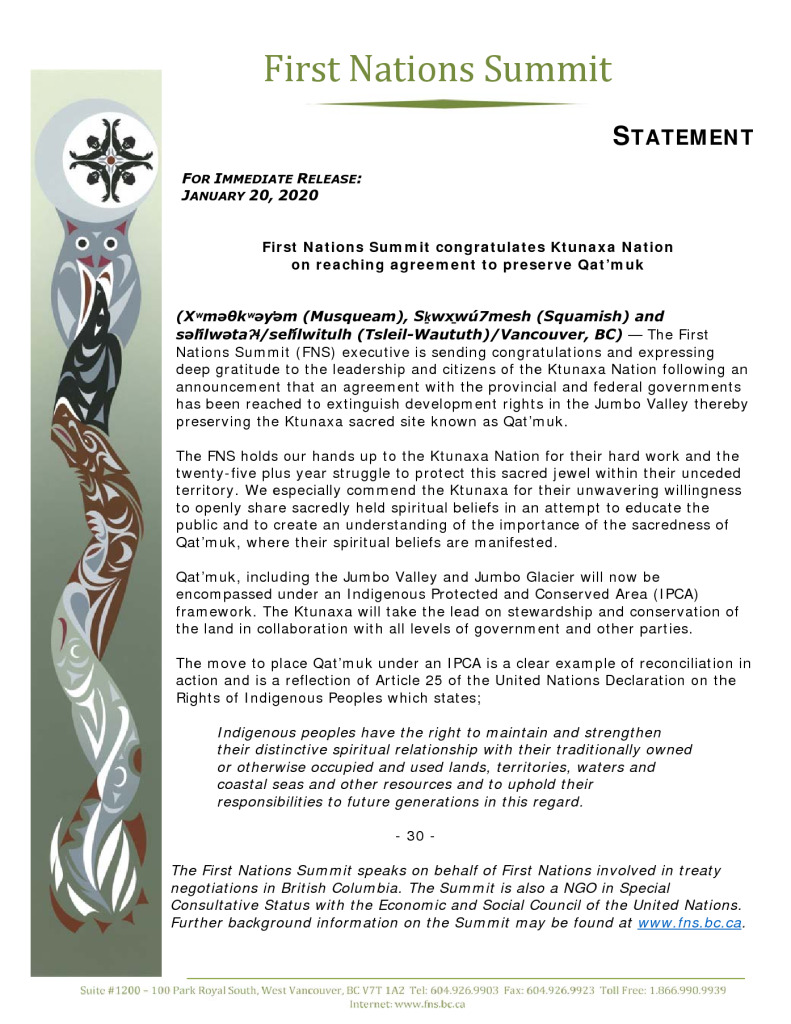 thumbnail of FNS statement re Preservation of Qatmuk Jan 2020