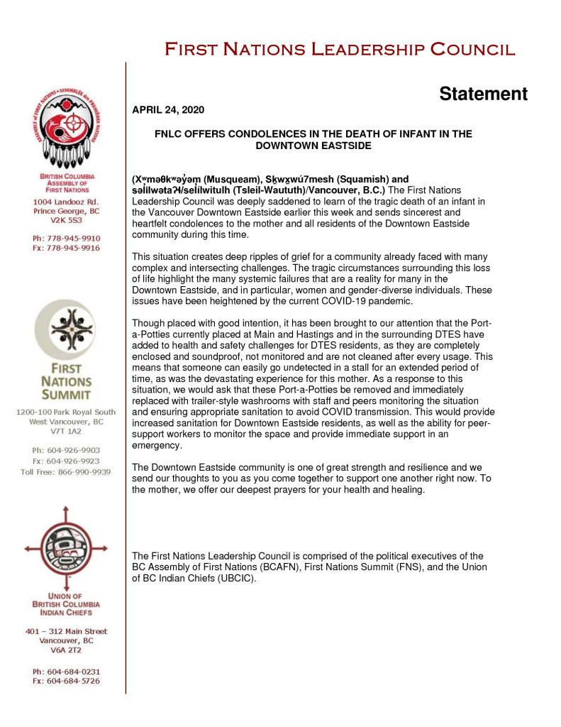 thumbnail of 2020APR24_FNLC Statement regarding Death of Infant in the DTES