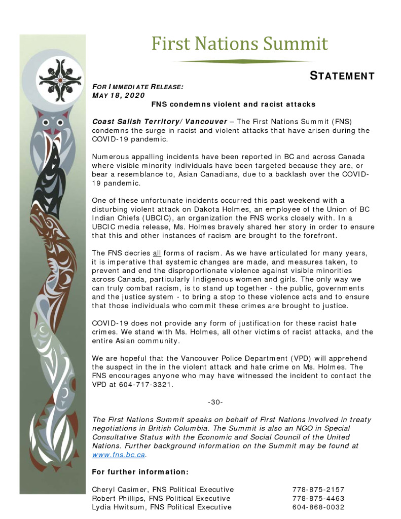 thumbnail of FNS statement re COVID violence May 18 2020