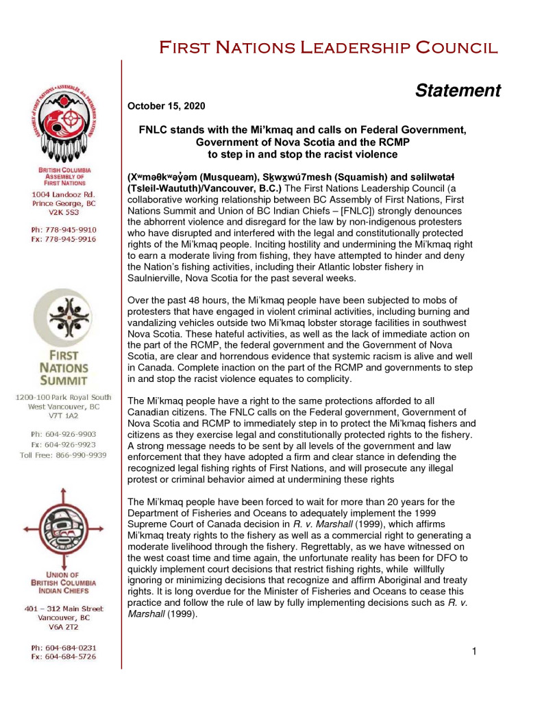 thumbnail of FNLC NR_Continued support for Mi'kmaq and lobster fishery (Oct 2020)FINAL