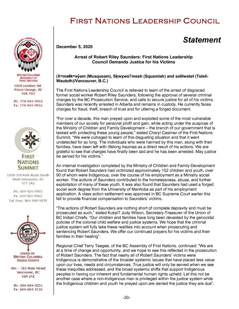 thumbnail of 2020DEC05_FNLC Statement on Saunders Arrest