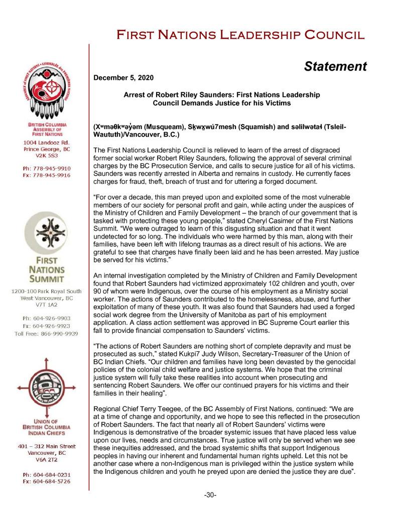 thumbnail of 2020DEC05_FNLC Statement on Saunders Arrest