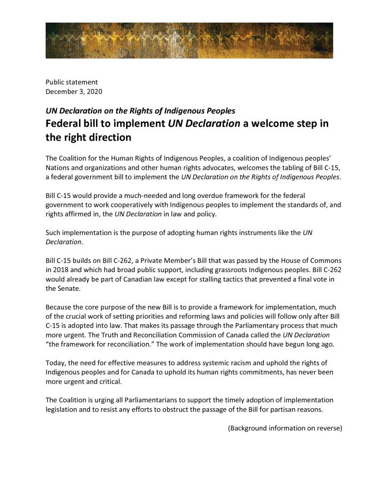 thumbnail of Coalition response to tabling of C15 3 Dec 2020