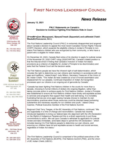 thumbnail of 2021JAN13_FNLC NR on Canada's Appeal of CHRT Ruling_ (002)