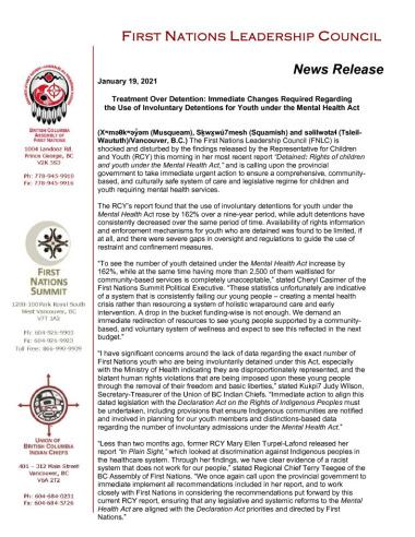 thumbnail of 2021JAN19_FNLC NR_RCY Mental Health Report