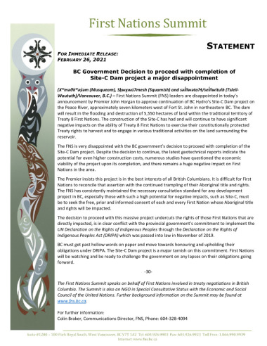 thumbnail of FNS Statement re continuation of Site-C Feb 26 2021 – FINAL