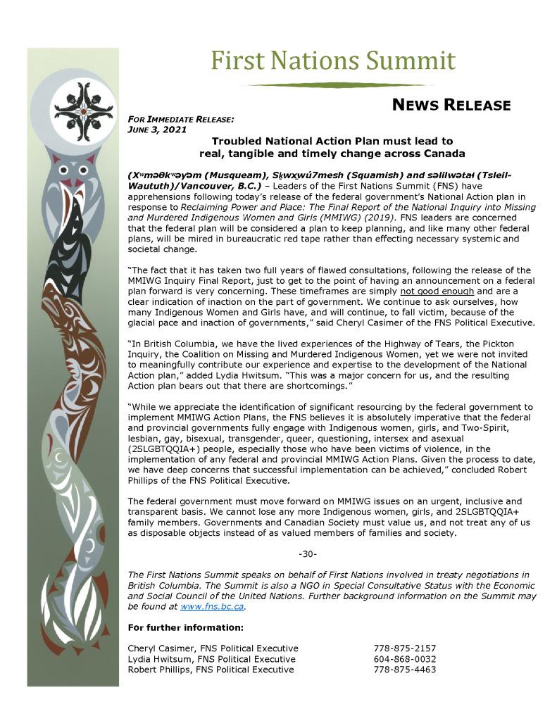 thumbnail of FNS PR re MMIWG National Action June 3 2021_FINAL